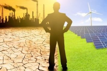 businessman looking over the climate change