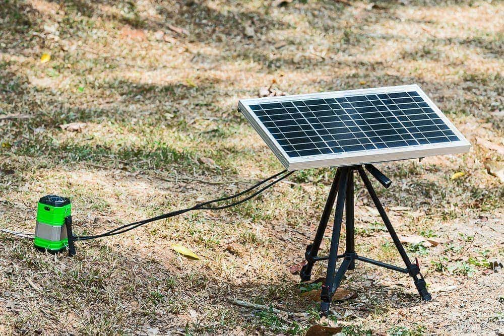 portable solar panel set up and connected