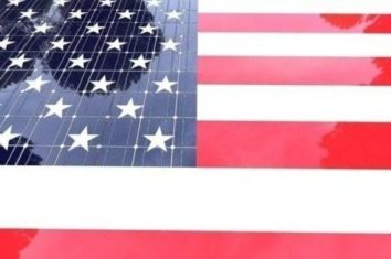 Solar panel in the style of the us flag
