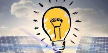 artificial light from lightbulb shining on solar panels