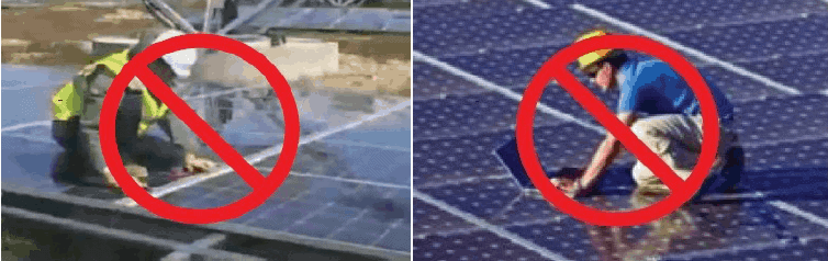 image showing how not to stand on the solar panels when cleaning them
