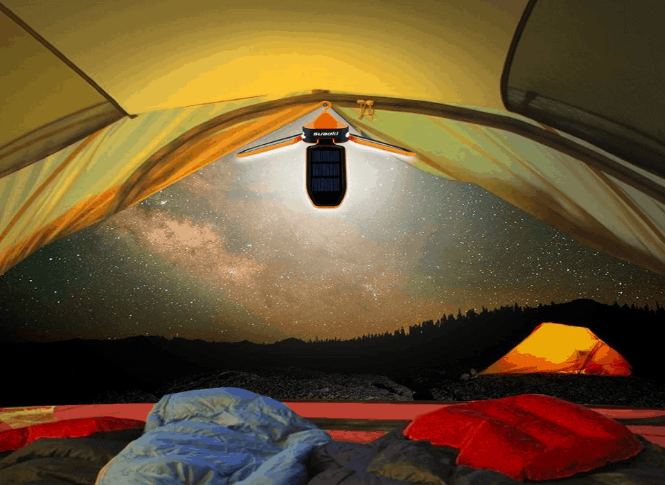 Folding Solar Panel LED Camping Tent Light Hanging Lantern Lamp USB Rechargeable