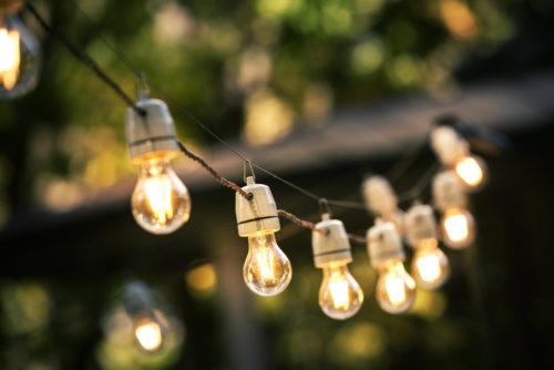 A set of solar string lights set up outside