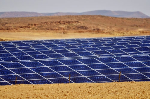 Solar panel farm in the Negev desert
