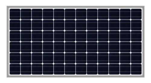close up of a 72 cell black solar panel