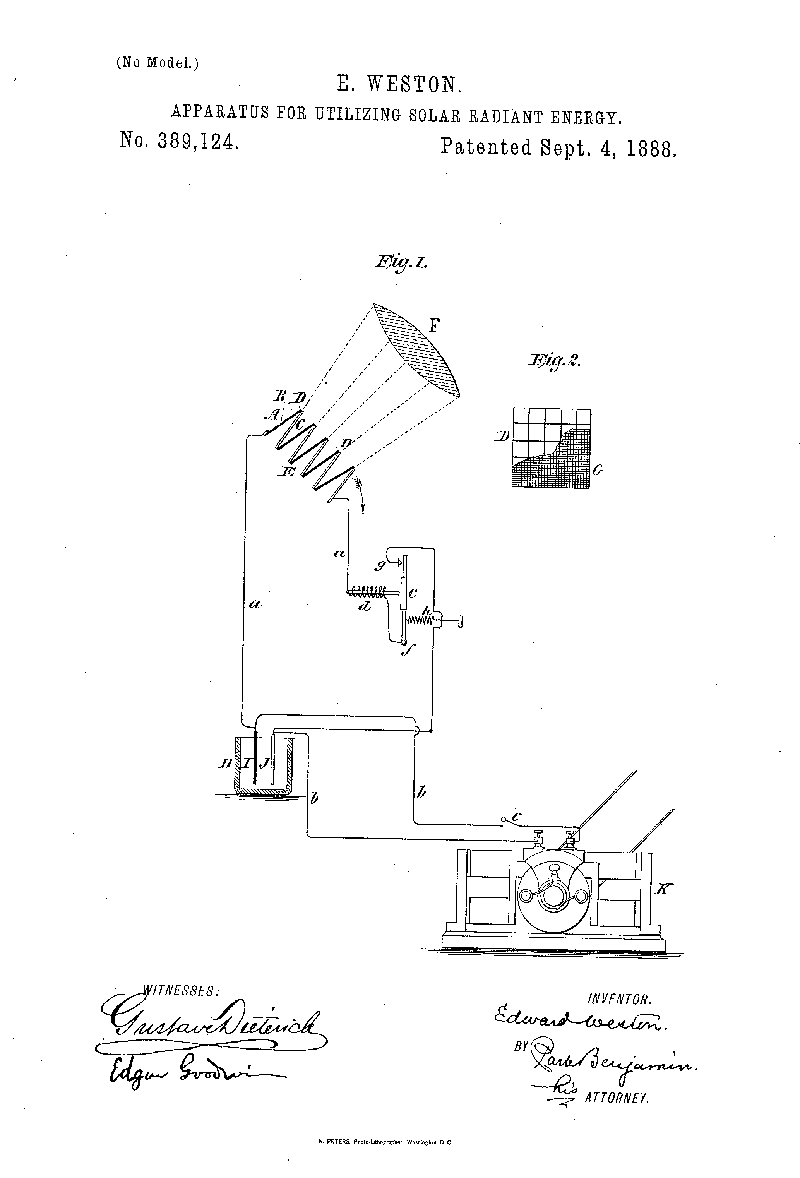 Patent diagram of E. Weston and M. Severy's soalr device