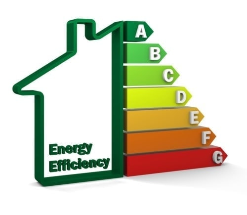picture of half a house and half a chart of energy efficiency