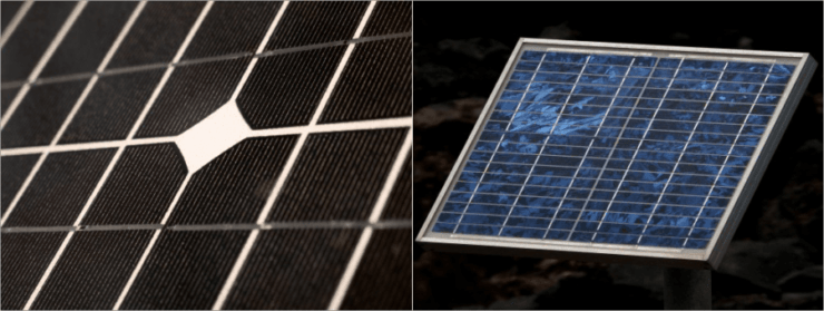 side by side monocrystalline and polycrystalline solar panels