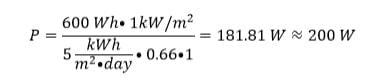 Capacité de puissance nominale pour une demande de 600Wh et 5kWh m2 par jour