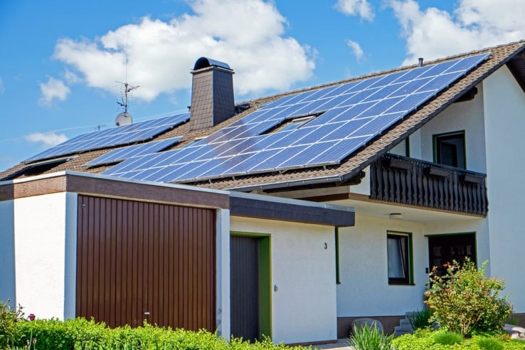 A home with solar panels installed on the roof