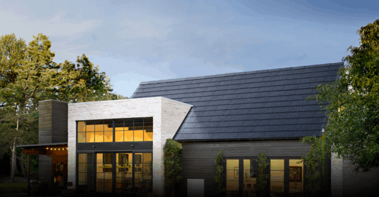 A house with a tesla solar roof installed