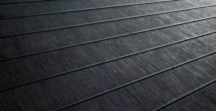 Close up of a Tesla solarglass roof