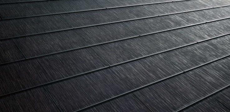 Close up of a Tesla solarglass roof