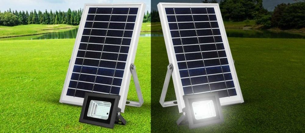 side by side images of solar flood lights during the day and during the night