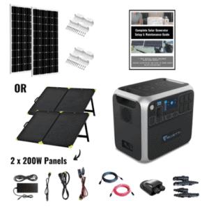 Bluetti AC200P 2,000Wh Solar Generator Nomad Kit