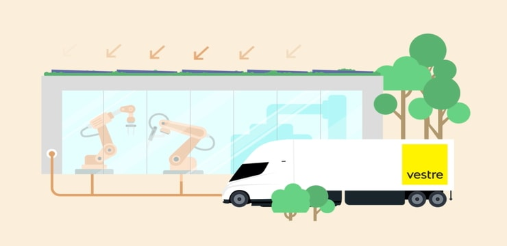 Diagram Showing Solar Panels Powering Production and Electric Trucks