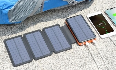 Solar battery charger with in-built battery