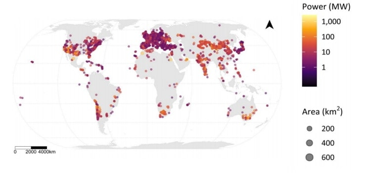 image showing distribution of solar power plants worldwide