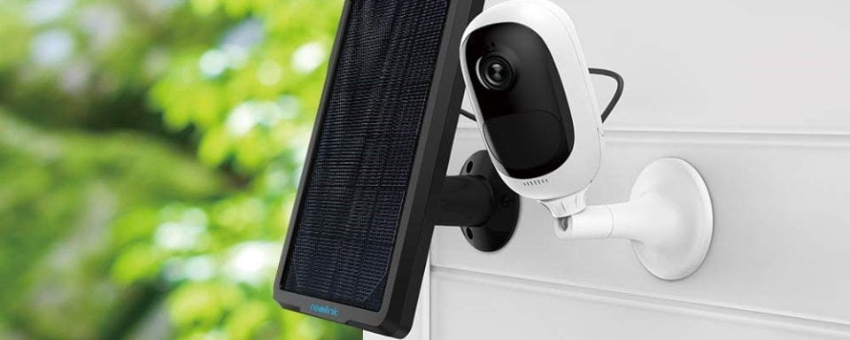 Reolink Argus Solar Powered Security Camera on the outside of a house