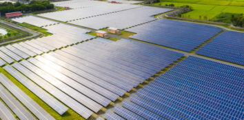 Solar energy farm producing clean renewable energy from the sun