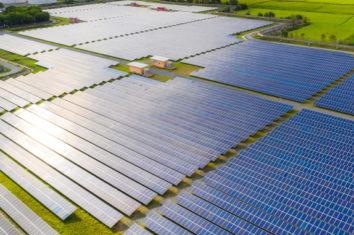 Solar energy farm producing clean renewable energy from the sun