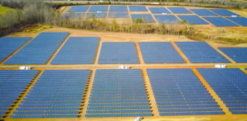 Birds eye view of a large solar plant