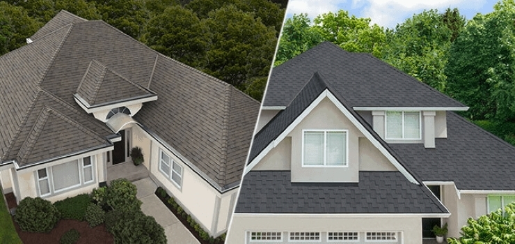 Split image of two houses with different styles of roofs