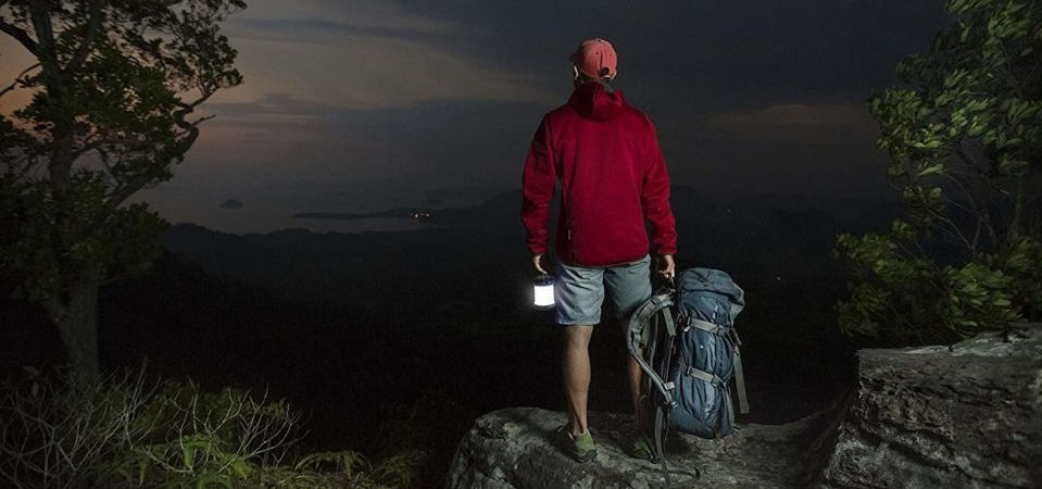 a guy walking in the forest at night with his solar lamp in his hand