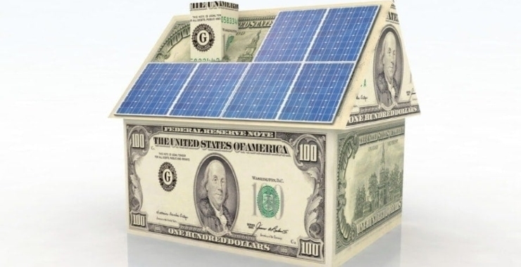 a small house made of solar panels and money