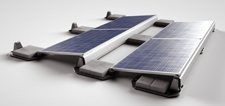 ballasted mounting system with concrete blocks for solar panel installation