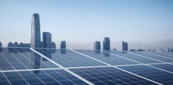 buildings behind a solar panel