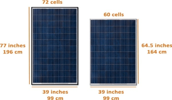diagram to show the different measurements of solar panels by the number of cells they have