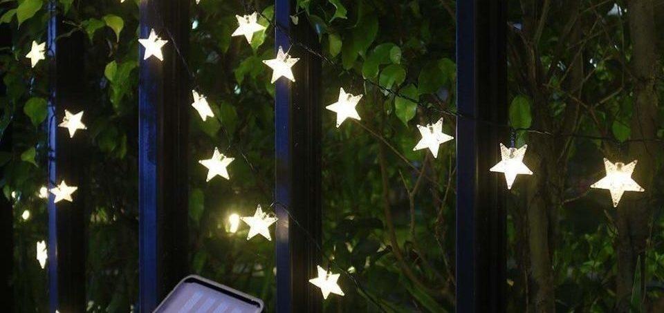 exterior lights adorning the garden