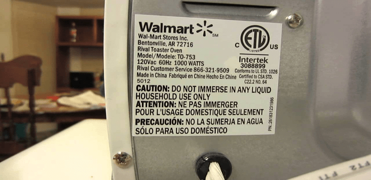 image showing a label on appliance with power consumption information