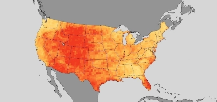 map chart of the usa to show the total heatwave days in the us