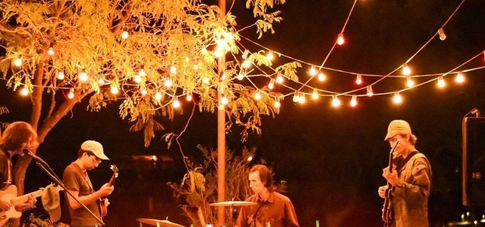 outdoor solar string lights adorning the stage