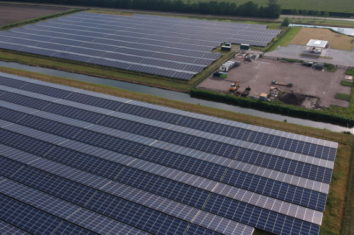 panoramic view of a group of solar panels