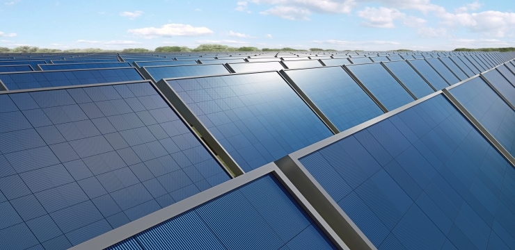 A large set of photovoltaic solar panels side by side