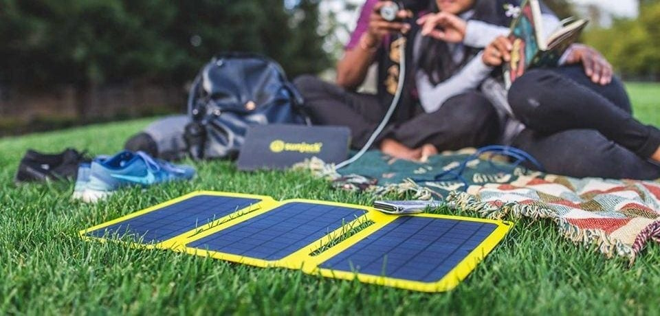 portable solar charger on the grass