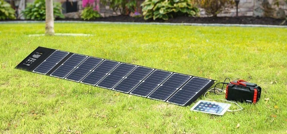 portable solar panel on the grass