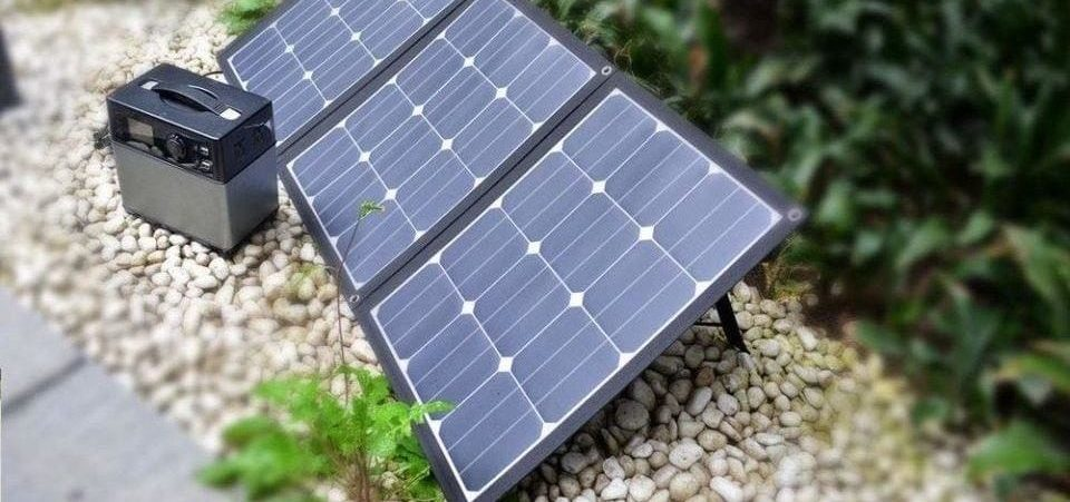 portable solar panel on the ground