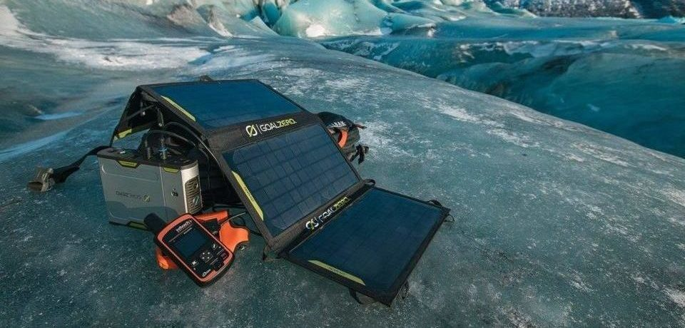 portable solar panel on top of ice
