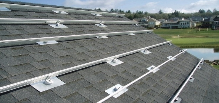railed-pv system installed on the roof ready to install solar panels