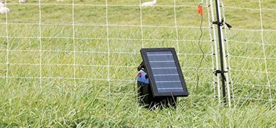 solar electric fence charger installed just inside the fence