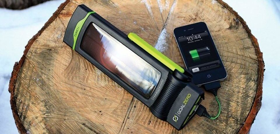 solar flashlights on wood