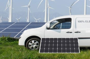 A flexible solar panel next to a white van
