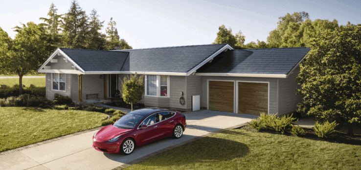 A tesla solar roof installed on a customer´s home