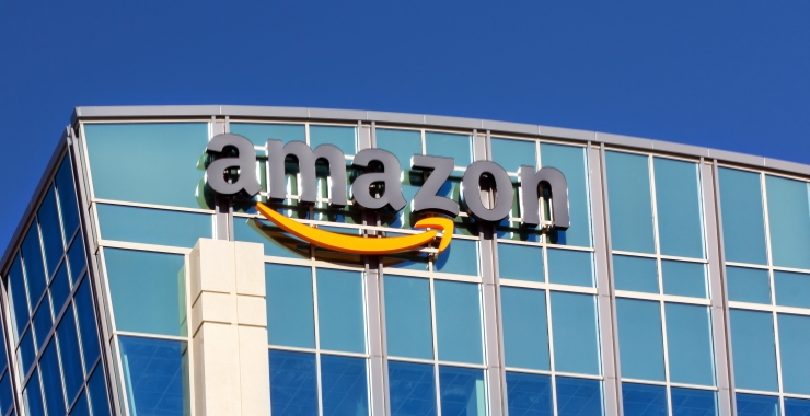 Image of the amazon company logo on the side of a building
