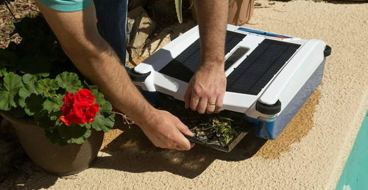 A man is emptying the solar powered pool cleaner