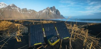 there is a solar portable charger near the sea